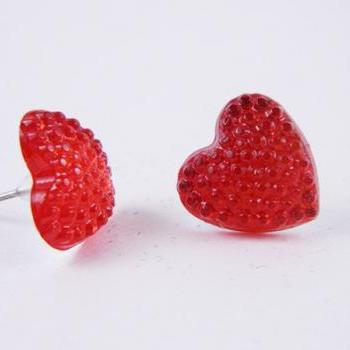 Red Sparkle Queen of Hearts Post Stud Earrings